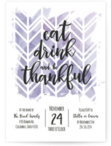 This is a purple holiday party invitation by Ally Madison called Thankful Herringbone printing on signature.