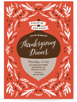 Thanksgiving Acorn Holiday Party Invitations