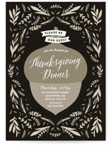 This is a black holiday party invitation by Olivia Raufman called Thanksgiving Acorn printing on signature.