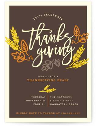 Thanksgiving Celebration Holiday Party Invitations