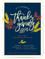 This is a beige holiday party invitation by Shirley Lin Schneider called Thanksgiving Celebration printing on signature.