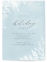 This is a blue holiday party invitation by Everett Paper Goods called Pine Boughs printing on signature.