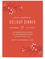 This is a orange holiday party invitation by Annie Holmquist called Mod Branches printing on signature.