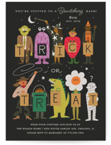 This is a black holiday party invitation by Morgan Ramberg called Trick or Treaters printing on signature in standard.