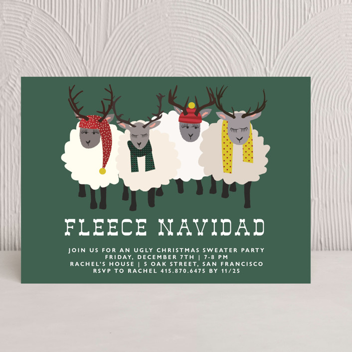 """Fleece Navidad"" - Holiday Party Invitations in Forest by 24th and Dune."
