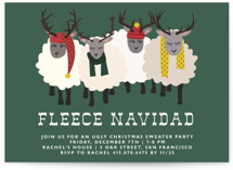 This is a green holiday party invitation by 24th and Dune called Fleece Navidad printing on signature.