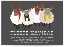 This is a black holiday party invitation by 24th and Dune called Fleece Navidad printing on signature.