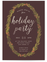 This is a brown holiday party invitation by Grace Kreinbrink called Wreath printing on signature.