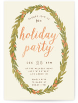 This is a orange holiday party invitation by Grace Kreinbrink called Wreath printing on signature.