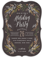 This is a brown holiday party invitation by Kristie Kern called Harvest Table printing on signature.
