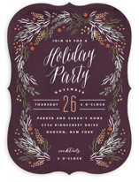 This is a purple holiday party invitation by Kristie Kern called Harvest Table printing on signature.