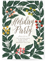This is a brown holiday party invitation by Faiths Designs called Cheers to the Holidays printing on signature.