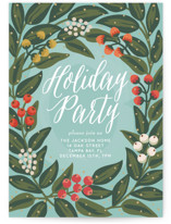 This is a blue holiday party invitation by Faiths Designs called Cheers to the Holidays printing on signature.