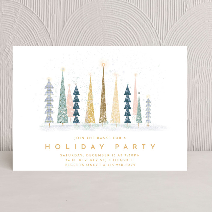 """""""Happy Holidays"""" - Holiday Party Invitations in Snow by Laura Mitchell."""