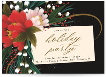 This is a black holiday party invitation by Angela Marzuki called festive tag printing on signature.