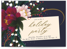 This is a blue holiday party invitation by Angela Marzuki called festive tag printing on signature.