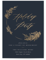This is a blue holiday party invitation by Robert and Stella called Welcome Wreath printing on signature.