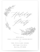 This is a white holiday party invitation by Robert and Stella called Welcome Wreath printing on signature.