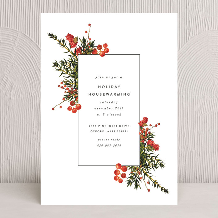 """Verdurous"" - Holiday Party Invitations in Cardinal by Fig and Cotton."