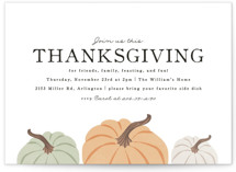 This is a white holiday party invitation by Karidy Walker called A Farmhouse Thanksgiving printing on signature.