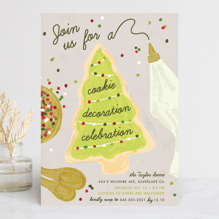 """""""Cookie Decoration Celebration"""" - Holiday Party Invitations in Ash by Shiny Penny Studio."""