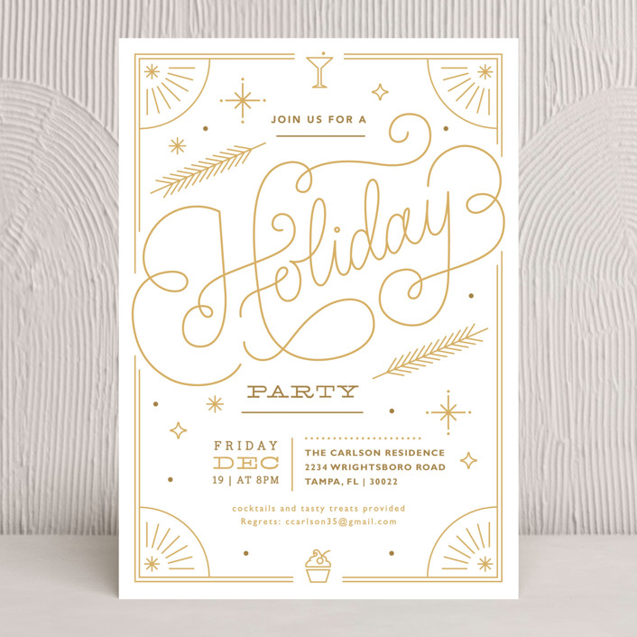 """""""Sparkling Soiree"""" - Hand Drawn, Vintage Holiday Party Invitations in Cotton by Kristen Smith."""