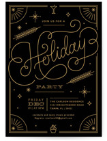 This is a yellow holiday party invitation by Kristen Smith called Sparkling Soiree printing on signature.