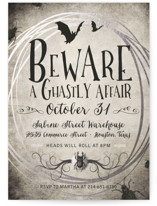 This is a black holiday party invitation by tad and faboo called A Ghastly Affair printing on signature.