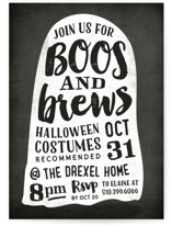 This is a black holiday party invitation by Hooray Creative called Boos and Brews printing on signature.