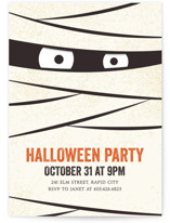 This is a orange holiday party invitation by Lisa Cersovsky called The Mummy printing on signature.