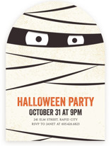 This is a orange holiday party invitation by Lisa Cersovsky called The Mummy printing on signature in standard.