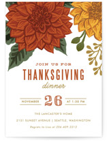 This is a orange holiday party invitation by Karidy Walker called Autumn Blooms printing on signature in standard.