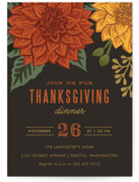 This is a black holiday party invitation by Karidy Walker called Autumn Blooms printing on signature.