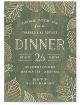 This is a green holiday party invitation by Hooray Creative called Fall Foliage printing on signature.