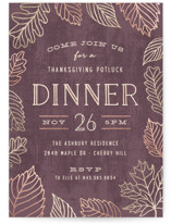 This is a purple holiday party invitation by Hooray Creative called Fall Foliage printing on signature.