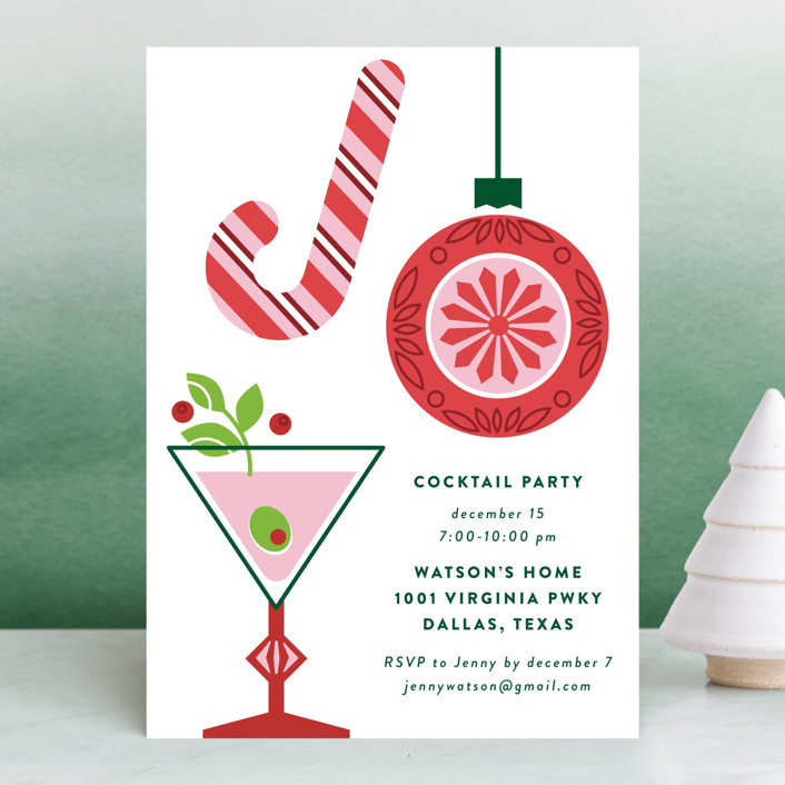 """""""Holiday Joy"""" - Holiday Party Invitations in Holly by Jessica Ogden."""