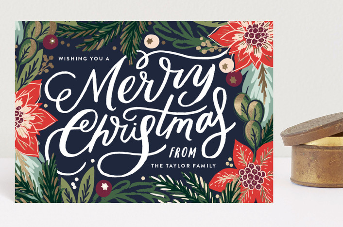 """""""Botanicals"""" - Holiday Postcards in Navy by Alethea and Ruth."""