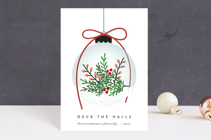 """Elegant Ornament"" - Holiday Postcards in Holly Berry by Erica Krystek."
