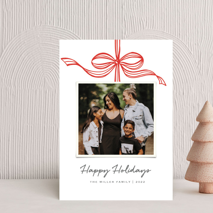 """Tied with a bow"" - Holiday Postcards in Crimson by SimpleTe Design."