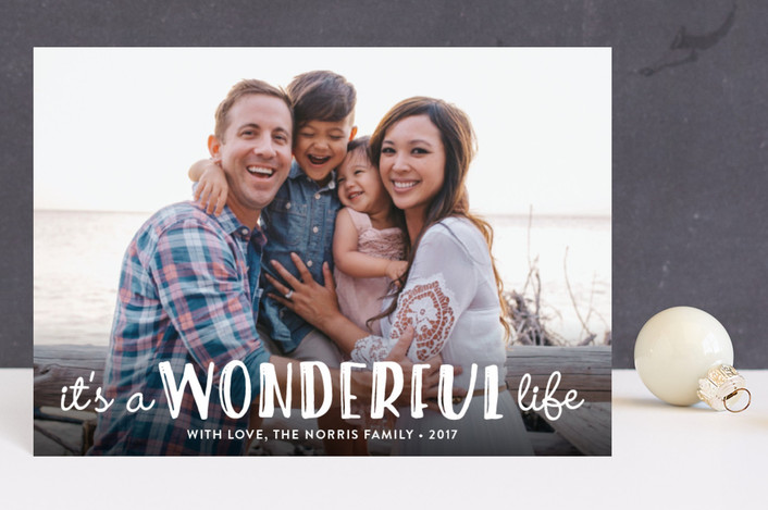 """Life Is Wonderful"" - Holiday Postcards in White by GeekInk Design."