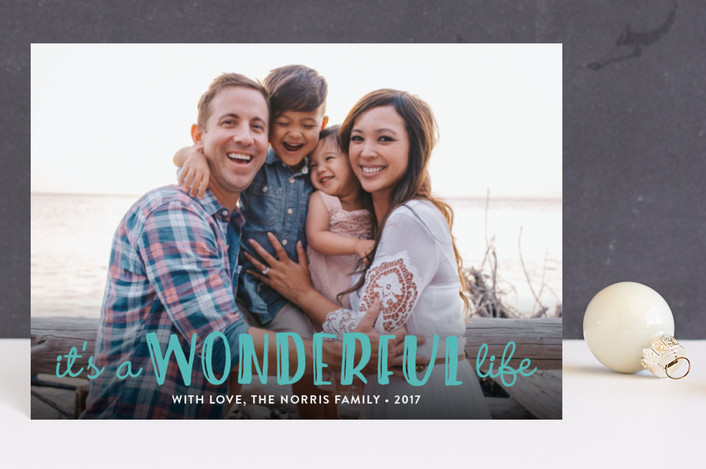 """""""Life Is Wonderful"""" - Holiday Postcards in White by GeekInk Design."""