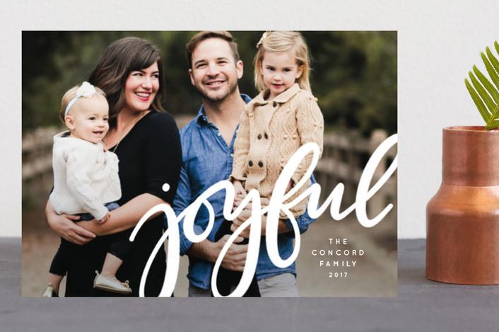 """Joyful"" - Holiday Postcards in Ivory by Lea Delaveris."