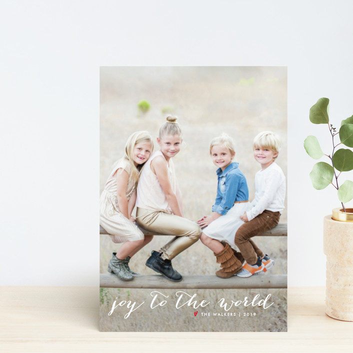 """""""Simple Joy"""" - Holiday Postcards in Snow by Fig and Cotton."""