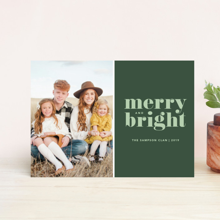 """Cheerful Merry"" - Holiday Postcards in Sage by Kristen Smith."