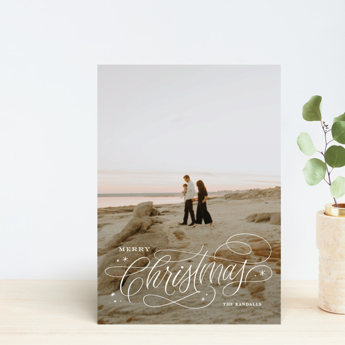 """Elegant Script"" - Holiday Postcards in Snowflake by Kristen Smith."