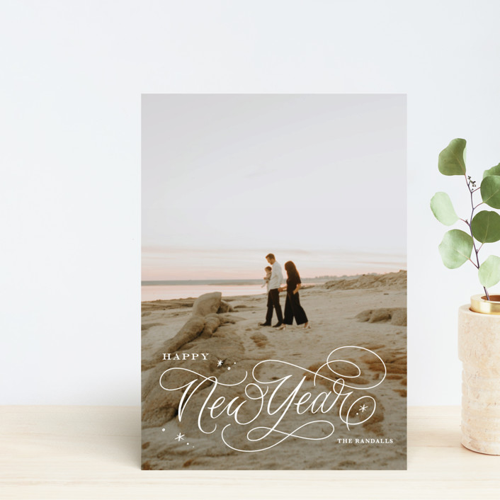 """""""Elegant Script"""" - Holiday Postcards in Snowflake by Kristen Smith."""