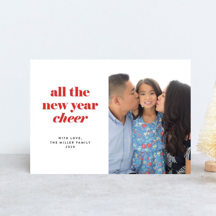 """all the happy"" - Holiday Postcards in Cranberry by JoAnn Jinks."