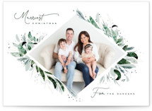 This is a green christmas postcard by Leah Bisch called Wild Greenery with standard printing on signature in postcard.