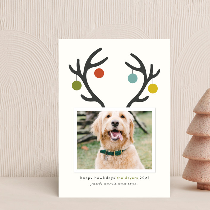 """Happy Howlidays"" - Funny Holiday Postcards in Evergreen by Lisa Cersovsky."