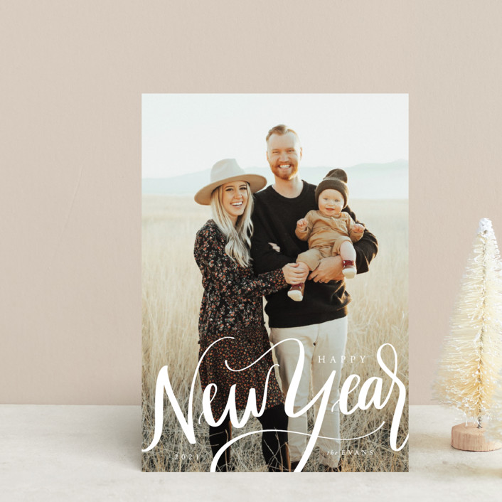"""""""Scripted New Year"""" - Holiday Postcards in Ivory by Cindy Reynolds."""